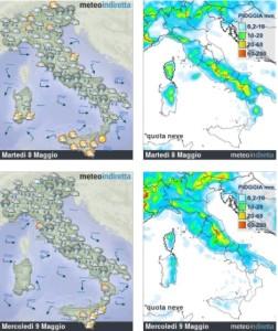 Settimana Temporalesca in arrivo: Acquazzoni e Temporali pomeridiani non mollano l'Italia! - Tempo di inizio settimana. Fonte: meteoindiretta