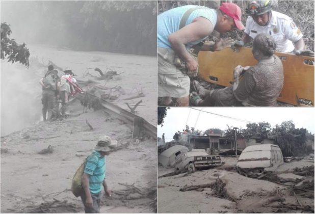Le conseguenze della disatrosa eruzione del Volcan de Fuego, in Guatemala, America centrale nella giornata di domenica 3 giugno.