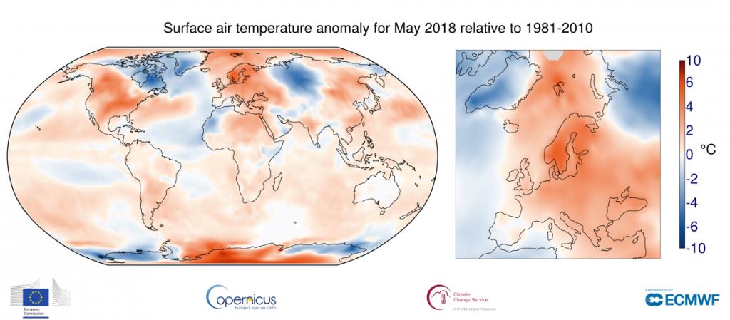 Anomalie di temperatura globali ed europee