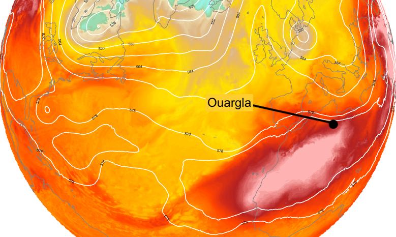 Temperature a 850 hPa e altezza di geopotenziale a 500 hPa