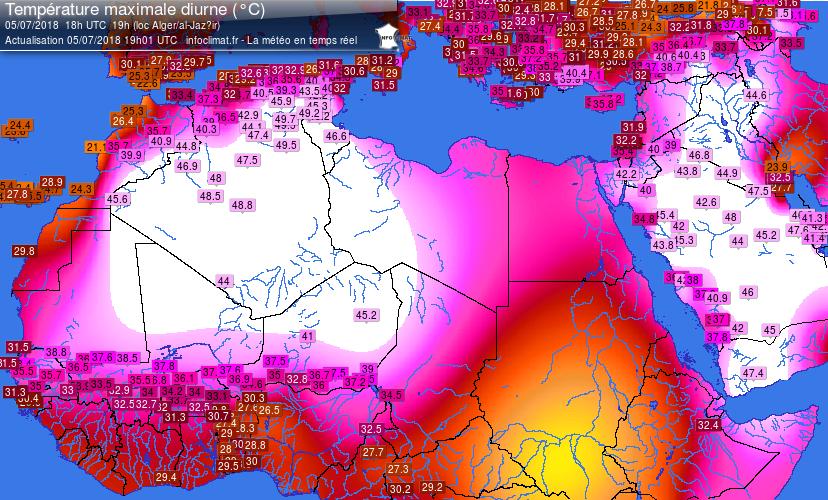 Temperature massime misurate nell'Africa centro-settentrionale e nel medio oriente lo scorso 5 luglio
