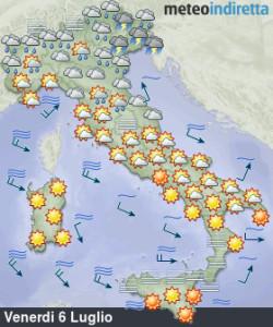 Break Anticiclonico nel Weekend: meno Caldo e qualche Temporale in più da Nord a Sud! - Venerdì ancora caldo al sud e maltempo al nord.  Fonte: meteoindiretta
