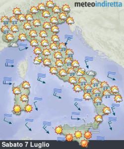 Break Anticiclonico nel Weekend: meno Caldo e qualche Temporale in più da Nord a Sud! -Temporali anche al sud. Fonte: meteoindiretta
