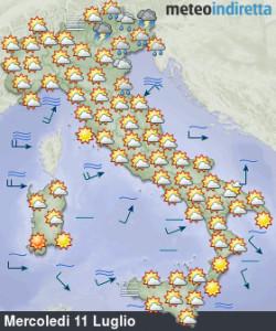 Settimana di luglio senza eccessi: sole, caldo e temporali diffusi, il weekend ondata africana! - Tempo più instabile al nord ad inizio settimana. Fonte: meteoindiretta