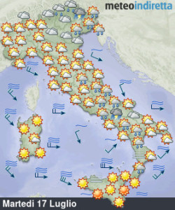 Lunedì cambio meteo: forti temporali e aria fresca in arrivo, migliora poi in settimana! - Maltempo anche al sud. Fonte: meteoindiretta