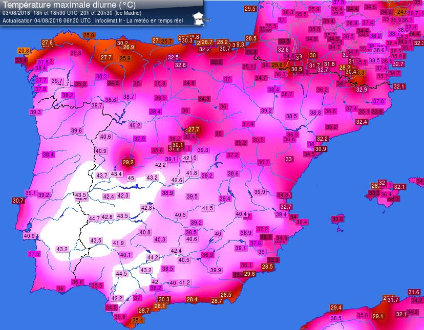 Temperature massime misurate il 3 agosto
