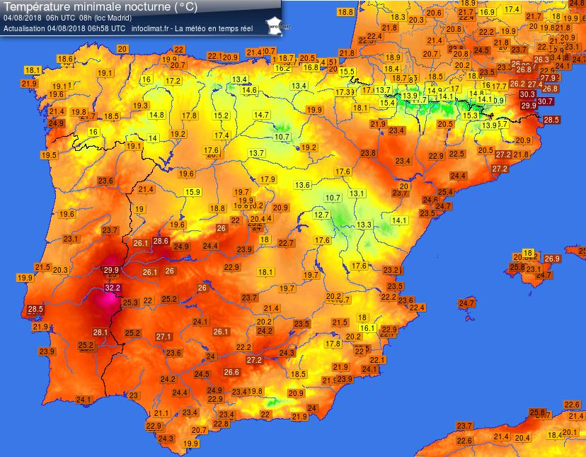 Temperature minime misurate nella penisola iberica tra 3 e a 4 agosto