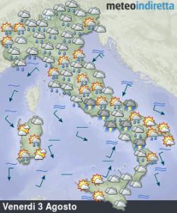 Cambiamento meteo nel weekend: forti temporali al centro-sud, ma non mancherà l'afa! - Weekend più temporalesco al centro-sud e caldo in diminuzione. Fonte: meteoindiretta