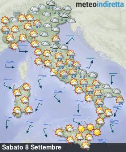 Weekend tra il buono e il cattivo tempo: prima piogge e nuvole, poi tanto sole! - Lento miglioramento con sopraggiungere dell'anticiclone. Fonte: meteoindiretta