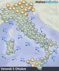 Weekend autunnale a causa del vortice: piogge, nuvole, sole, vento, non mancherà nulla! - Weekend capriccioso con piogge e nuvole protagoniste. Fonte: meteoindiretta
