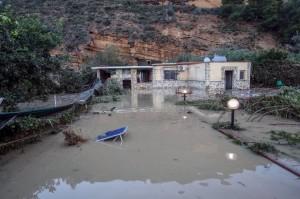 La villetta allagata a Casteldaccia, nei pressi di Palermo, Sicilia