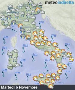Maltempo insistente sull'Italia con piogge abbondanti: sarà una settimana tra alti e bassi! - Inizio settimana variabile con piogge e sole. Fonte: meteoindiretta