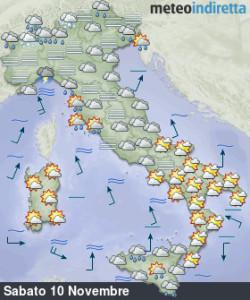 Italia divisa in due nel corso del weekend: piogge, nubi e sole accompagnate da aria mite! - Buon tempo al sud, meno al nord nel weekend. Fonte: meteoindiretta