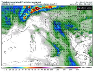 Ultime ore perturbate ad inizio settimana, poi piccolo break anticiclonico!! - Ecco dove pioverà fino a metà settimana. Fonte: wxcharts