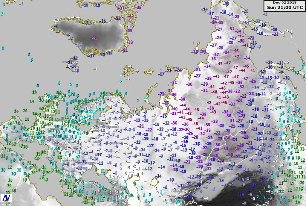 Temperature minime misurate il 2 Dicembre
