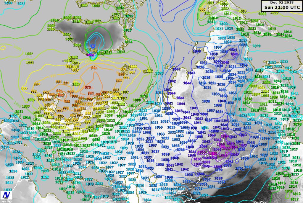 Pressione riportata al livello del mare misurata sul continente Euro-Asiatico