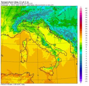 Clima mite alle ultime battute: saranno giorni con caldo fuori stagione prima dell'inverno! - Temperature massime previste mercoledì 5. Fonte: moloch cnr