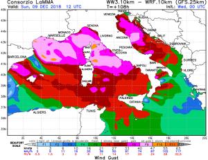Aggiornamento meteo per l'Immacolata: veloce maltempo al centro-sud, ma migliora! - Raffiche fino a 90 km/h. Fonte: lamma