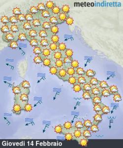 Italia divisa tra alta pressione e venti freddi in settimana: tutte le news qui! - Tempo previsto san Valentino giovedì 14. Fonte: meteoindiretta