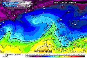 Nuove perturbazioni puntano l'Italia: settimana con sole, vento, piogge e neve! - Flusso di aria fredda in arrivo. Fonte: meteociel