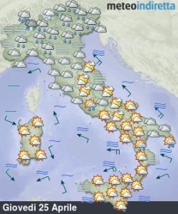 Italia divisa tra maltempo e assaggio estivo: altra settimana pimpante di Aprile! - Italia divisa in due dal tempo. Fonte; meteoindiretta