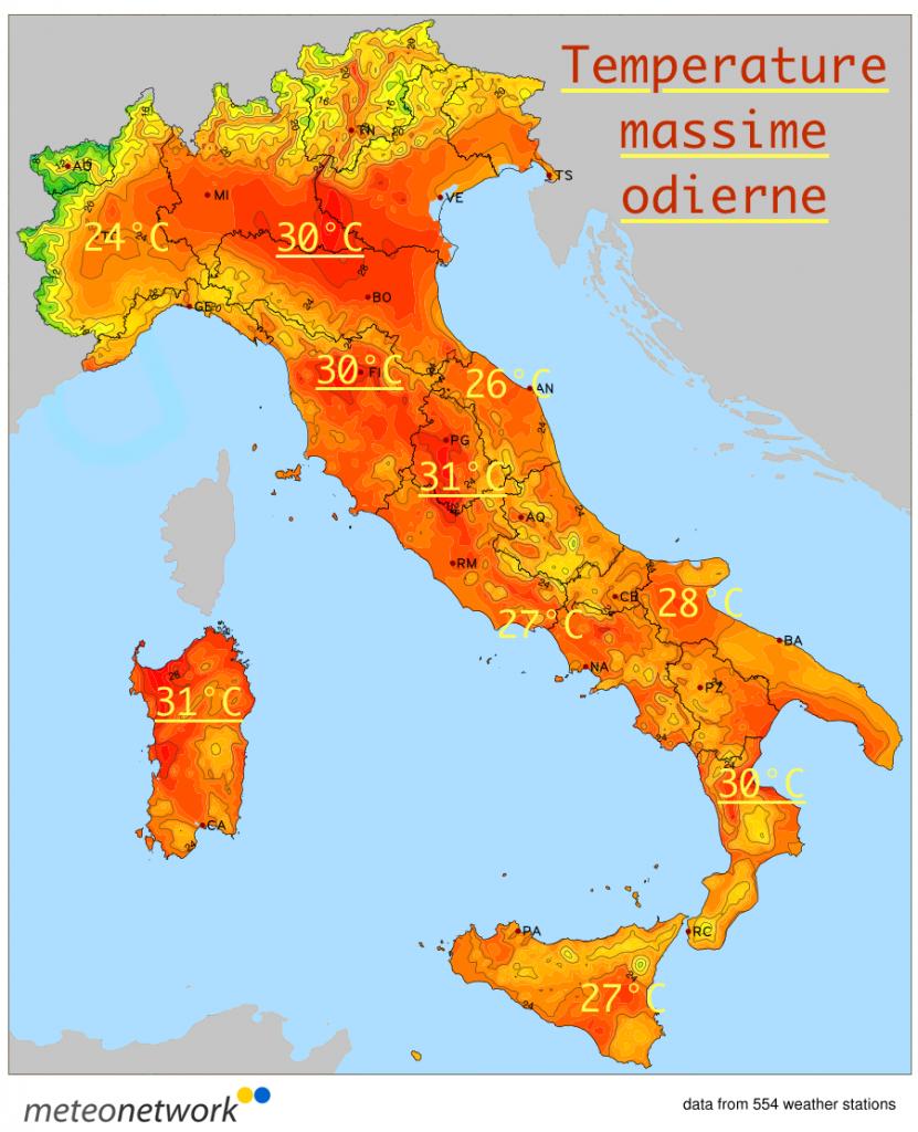 Temperature massime odierne misurate dalla rete Meteo Network.