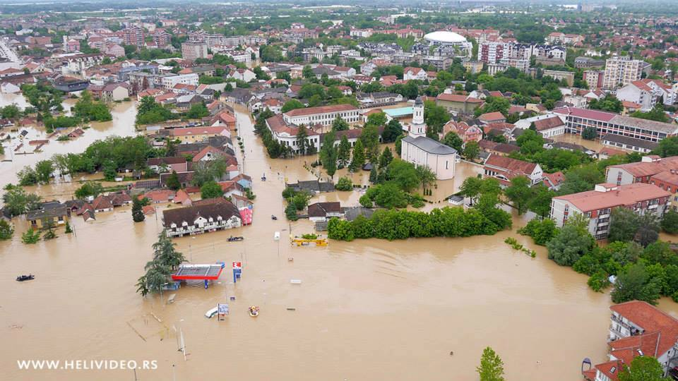 Visione aerea della Città di Obrenovac, Serbia.