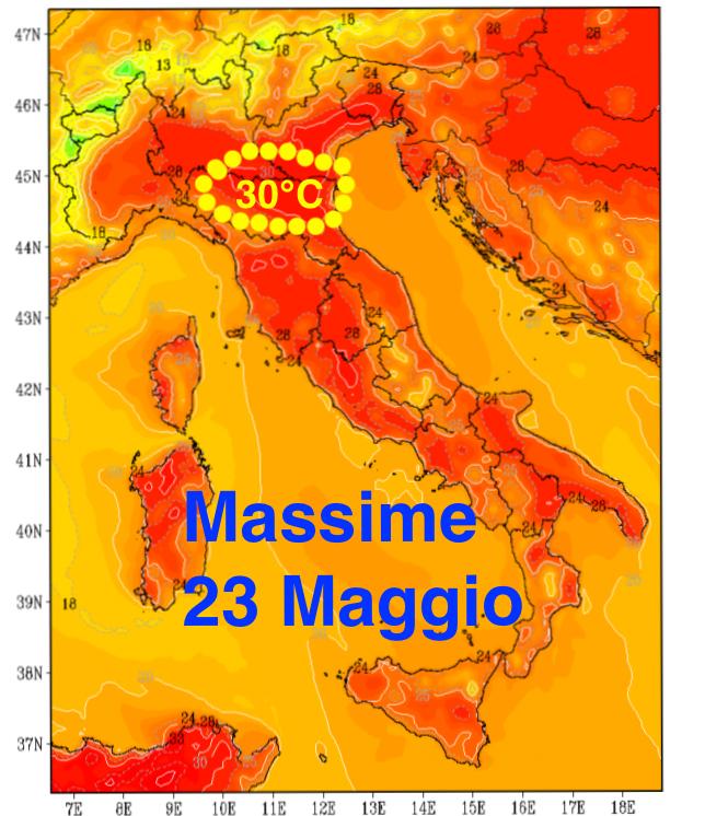 Temperature massime previste per Venerdì 23 Maggio.
