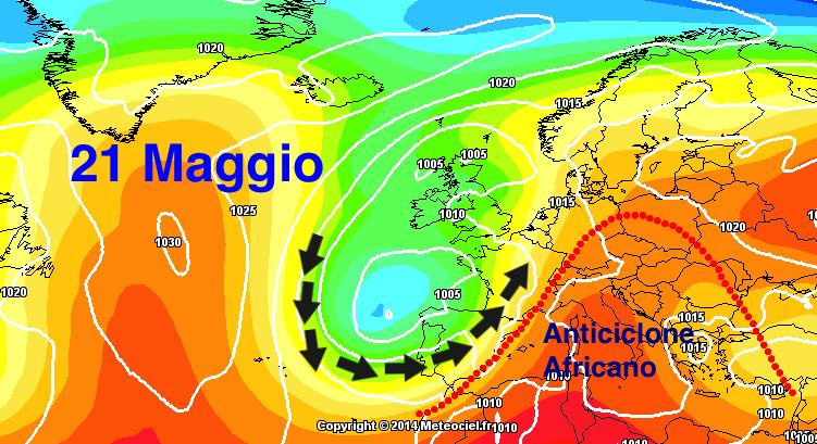 Geopotenziali a 500 hPa previsti per il prossimo 21 Maggio.