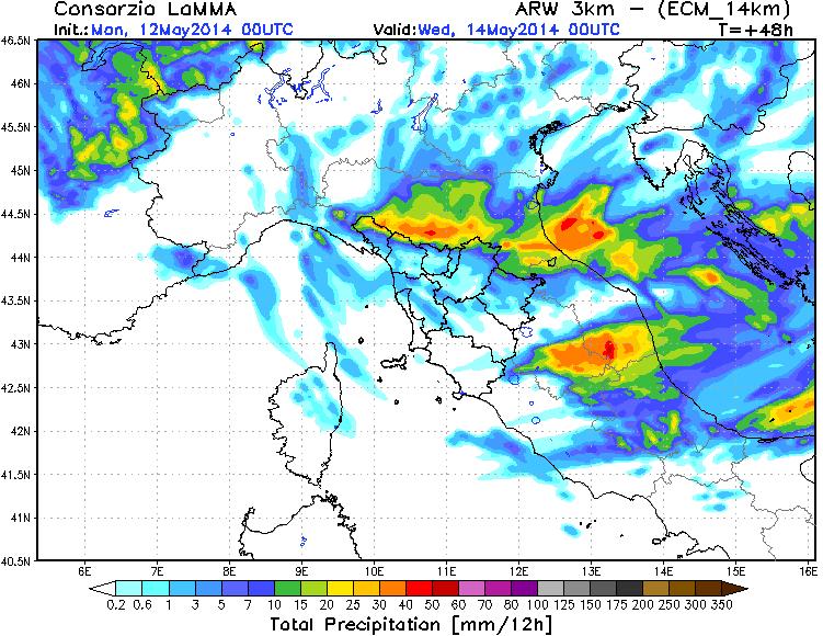 Precipitazione prevista dal modello Lamma sul Nord Italia, tra le 12 e le 24 di domani.