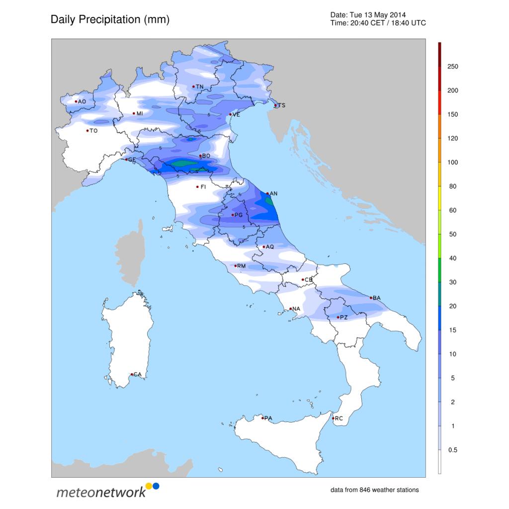 Precipitazioni accumulate nella giornata odierna su tutta Italia.