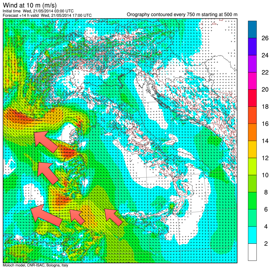 Situazione dei venti prevista dal modello MOLOCH per le 17.