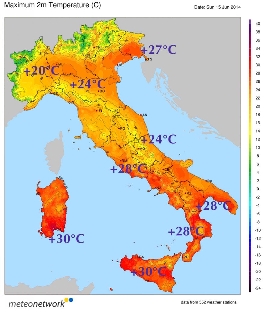 Temperature massime di oggi, Domenica 15 Giugno.