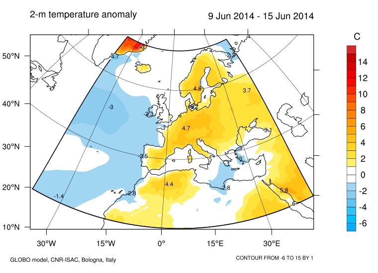 Anomalie termometriche previste dalle previsioni mensili del CNR emesse nei primi giorni di Giugno