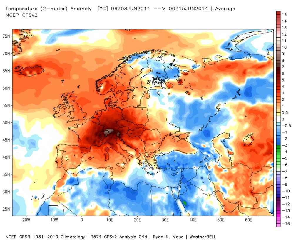 Anomalie termometriche Europee tra l'8 ed il 15 Giugno.