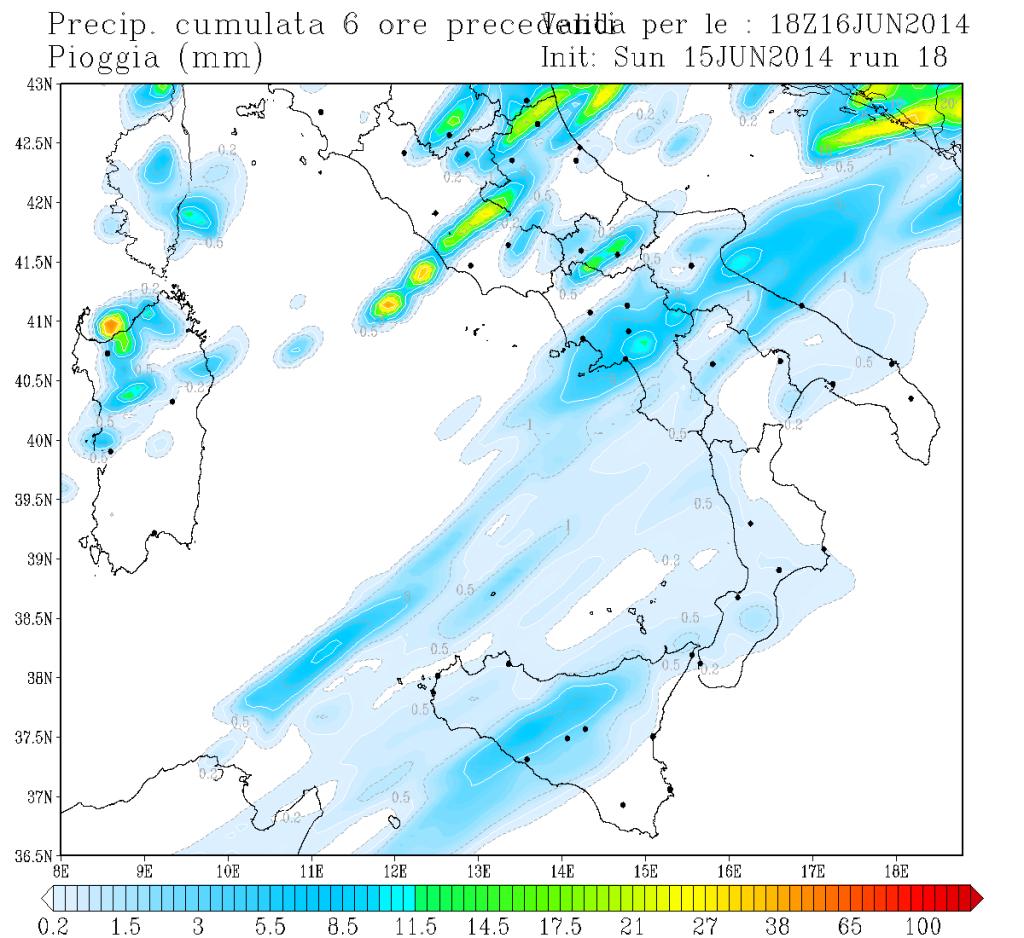Piogge previste tra le 12 e le 18 dal nostro modello.