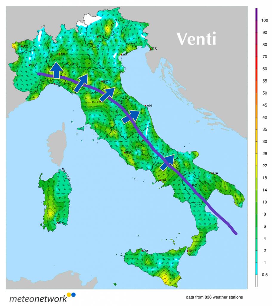 Venti misurati nel pomeriggio sull'Italia dalla rete di stazioni Meteo Network
