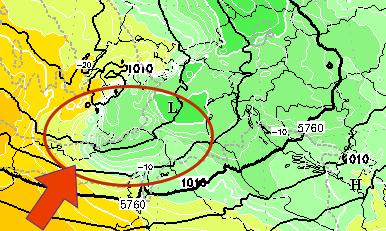 Pressione al suolo e geopotenziali a 500 hPa previsti per le 12 di Martedì