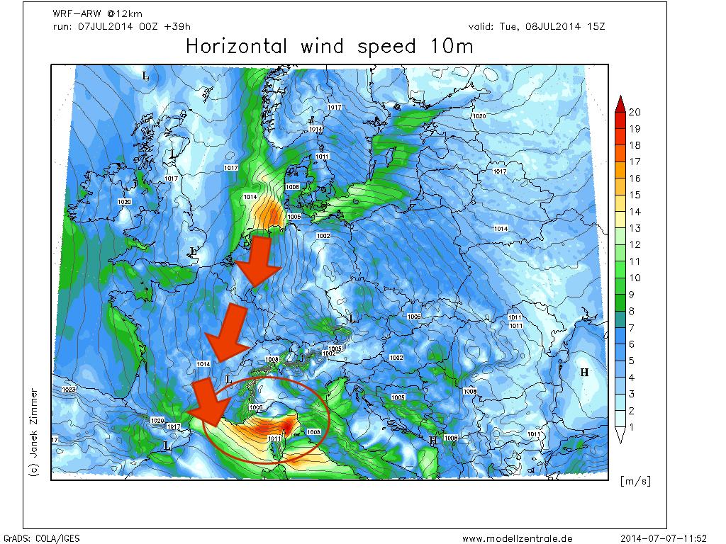 Vento a 10m e pressione al suolo previsti sul Centro Europa.