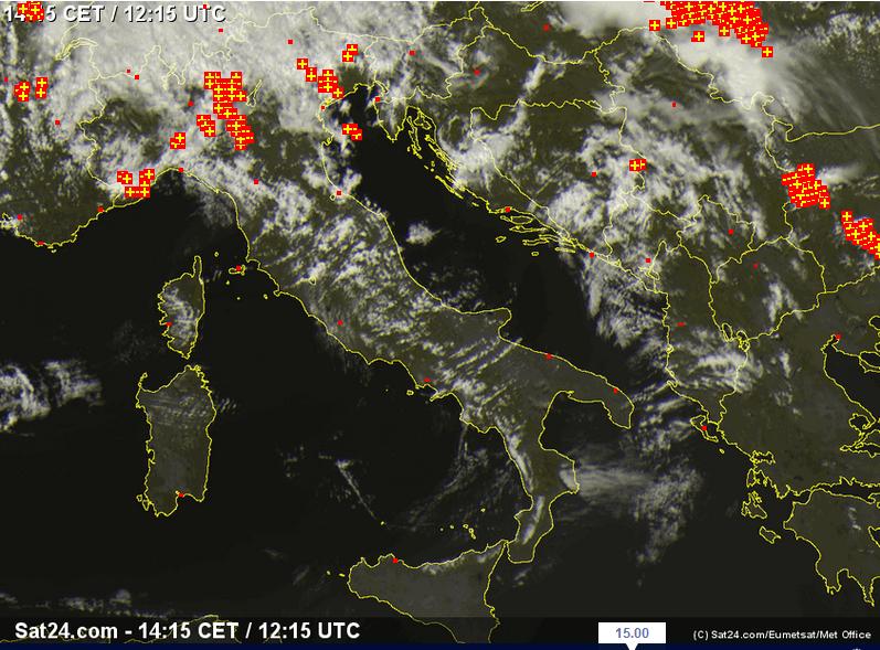 Scatto del Meteosat alle ore 15:00 dell'8 Luglio 2014