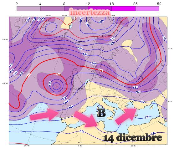 Previsioni per l'altezza di geopotenziale a 500 hPa (linee) con relativa incertezza (colori)