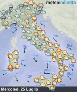 Break maltempo con forti temporali: la settimana inizia perturbata, poi torna il gran caldo! - Tempo in miglioramento da metà settimana. Fonte: meteoindiretta