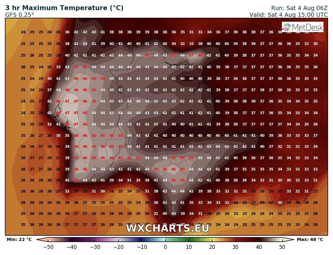 Temperature massime previste per il 4 agosto