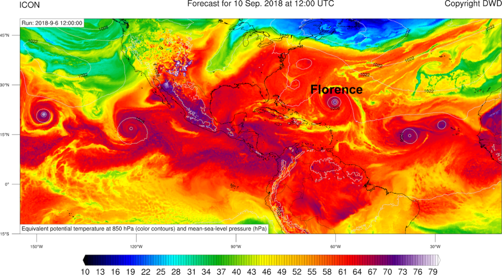 Previsione della temperatura potenziale equivalente a 84 ore secondo il modello ICON