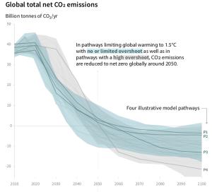 Diversi scenari relativi alla limitazione delle emissioni per contenere il riscaldamento entro 1.5 gradi