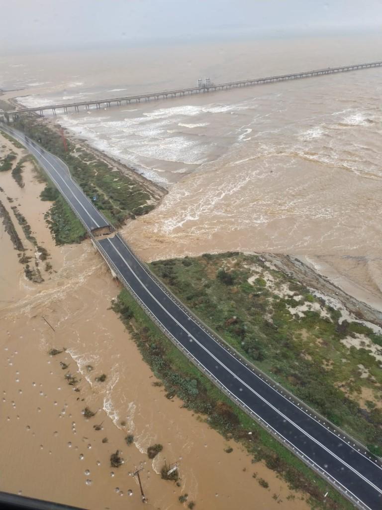 SS195 Cagliari-Capoterra danneggiata dall'alluvione