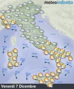 Perturbazioni e bel tempo si alterneranno nel Weekend dell'Immacolata: ecco dove! - Perturbazioni e bel tempo un cambio continuo. Fonte: meteoindiretta
