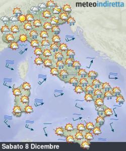 News Weekend dell'Immacolata: tra piogge, nuvole e calo termico, sarà confermato? - Maltempo previsto per ora all'Immacolata. Fonte: meteoindiretta