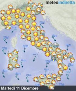 Ventata invernale sull'Italia in settimana: sole, pioggia e neve accompagnati da tanto freddo! - Bel tempo e freddo inizio settimana. Fonte: meteoindiretta
