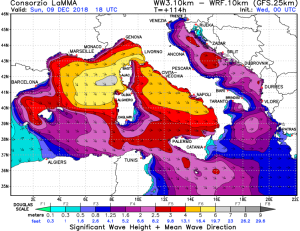 Aggiornamento meteo per l'Immacolata: veloce maltempo al centro-sud, ma migliora! - Mareggiate forti sul Tirreno. Fonte: lamma